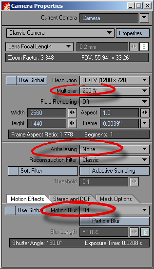 Camera Settings for a Depth Pass